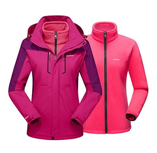 EKLENTSON Damen 3in1 Outdoor Winterparka Winterjacke Snowboarding Ski Warm Leichte Jacke mit Abnehmbarer Kapuze Rot, L