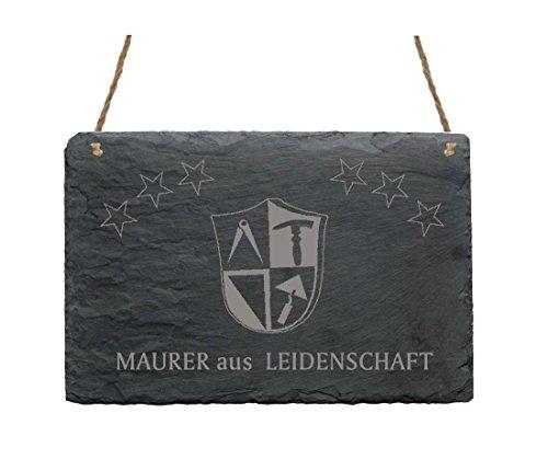 Schiefertafel « MAURER AUS LEIDENSCHAFT » Schild mit Motiv Zunftzeichen - Türschild Dekoschild Beruf - Handwerker Zunft
