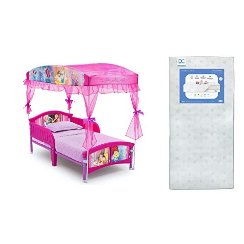 Delta Children Canopy Toddler Bed, Disney Princess + Delta Children Twinkle Galaxy Dual Sided Recycled Fiber Core Toddler Mattress (Bundle)