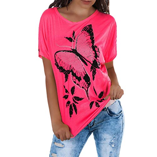 New Women Ladies Fashion Butterfly Print Round Neck Short Sleeve Shirt Blouse