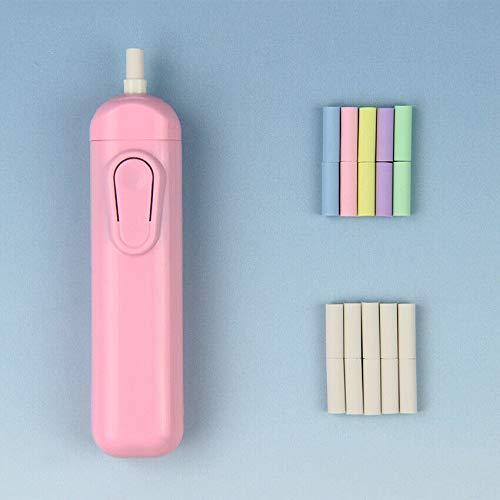 1 goma eléctrica con 20 recambios de borrador automático de material escolar, regalo para niños, sin batería (rosa).
