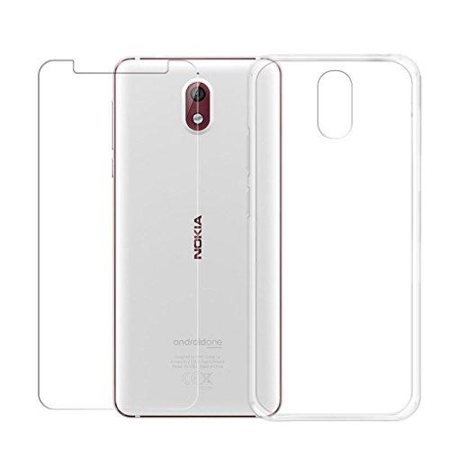"LJSM Nokia 3.1 Funda Transparente + Protector de Pantalla Cristal Templado Film Película Protectora - Carcasa Silicona TPU Suave Caso Case para Nokia 3.1 2018 (5.2"") -Clear"