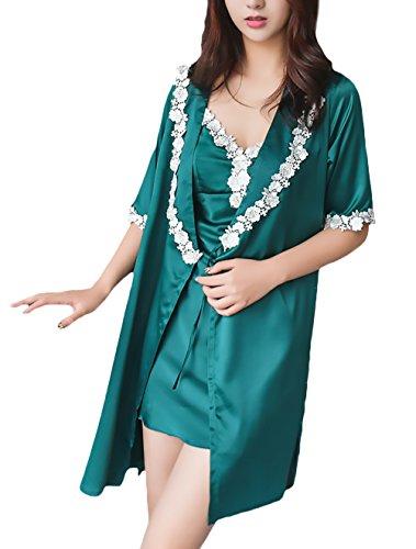 Damen Pyjama 2 Teilig Set Schlafanzug Herausnehmbare Polster Morgenmantel Kimono Elegant Classic Fashion Edel Gemütlich Mit Spitze V Ausschnitt Nachthemd Kurz