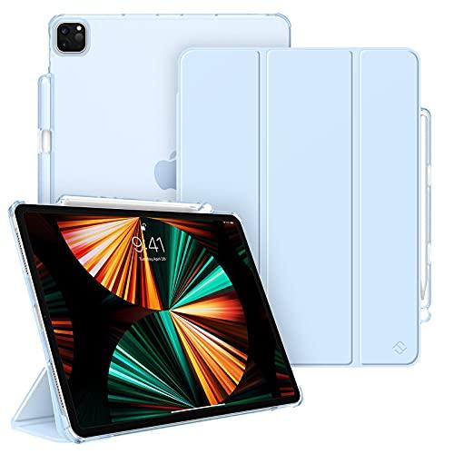FINTIE Funda para iPad Pro 12,9' (5.ª Generación, 2021) - Carcasa Ligera con Portalápiz Trasera Transparente Mate Auto-Reposo/Activación Compatible con iPad Pro 12,9' 2020/2018, Azul Claro