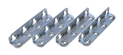Gedotec Bettverbinder Metall Möbelverbinder HS mit Schlüssellochstanzung | 23 x 25 x 120 mm | Einhängeverbinder zum Schrauben | Stahl blau verzinkt | 4 Stück - Winkelverbinder für Möbel & Betten