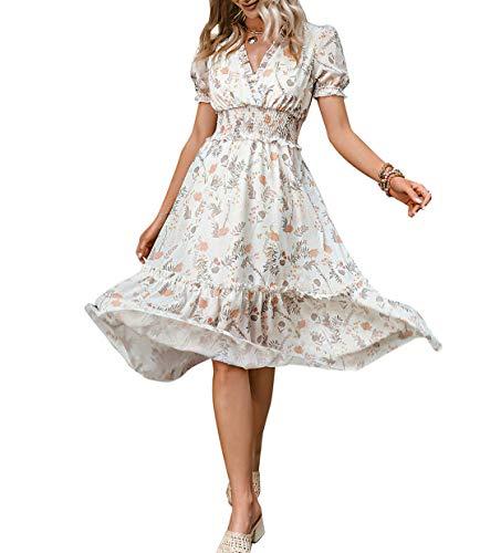 Amegoya Women's Summer Floral Boho Ruffled High Waist V Neck Maxi Dress(Light Apricot 8-10)