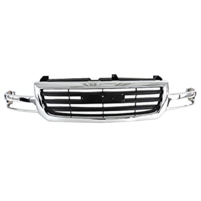Perfit Liner New Replacement Parts Front Upper Chrome Black Grille Compatible With GMC 03-07 Sierra Pickup Truck 1500 2500 Lightduty Classic Fits GM1200475 19130791