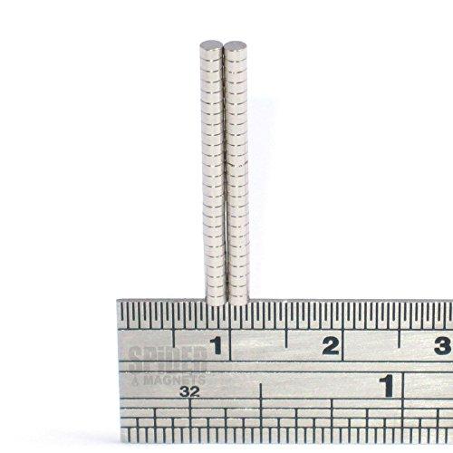 Araña magnetics Ltd diminutos imanes de neodimio de grado 2 x 1 mm N52 disco pequeño y redondo 2 mm de diámetro x 1 mm modelos artesanales miniaturas