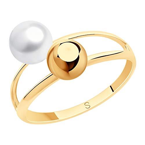 SOKOLOV Jewelry 585 Gold Damen Ring mit Perle in weiß und gold I Perlenschmuck - 2-fach Damen Verlobungsring Gold I Exklusiver Designer Damen-Schmuck - eleganter Doppel Perlenring (18,5)