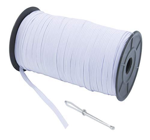 "MJMP Baraded Elastic Cord/Elastic Band/Elastic Rope/White Heavy Stretch Knit Elastic Spool(White)/Bedspread Band (White, 1/4"" 144Yard)"