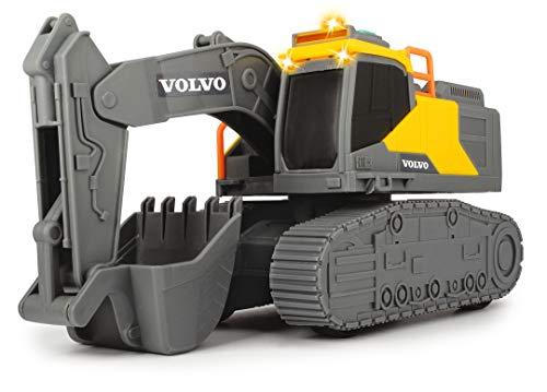 Dickie Toys Volvo Kettenbagger, Licht & Sound, inkl. Batterien, 23 cm groß, gelb/grau
