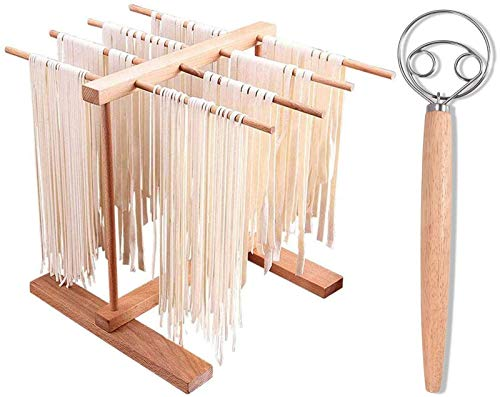 AJIODA Pasta Drying Rack Danish Dough Whisk Natural Beech Wood Foldable Noodles Stand with 8 Bar Handles Spaghetti Hanging Dryer Rack for Home Use Storage Pasta Spaghetti Noodle
