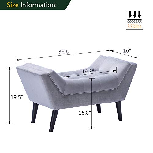 Alunaune Tufted Ottoman Bed Bench Upholstered Entryway Bench Modern Fabric Footstool for Bedroom with Wooden Legs-Light Gray