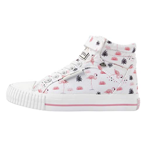 British Knights DEE Mädchen High Top Sneakers Flamingo Print, - Weiß Flamingo Rosa - Größe: 33 EU