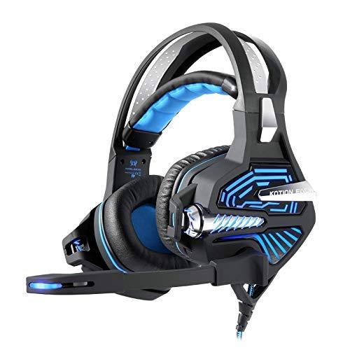 Casque de Jeu 7.1 Virtual Shock Casque USB à Annulation de Bruit 3D Bass Surround avec atténuation du Bruit pour PC, Xbox One, PS4, commutateur Nnintedo (Couleur: Bleu, Edition: sans Choc)