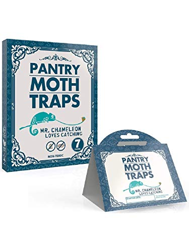 Mr.Chameleon Pantry Moth Traps with Pheromones Prime - Moth Protection - Sticky Glue Trap for Food and Cupboard Moths in Kitchen 7 Pack