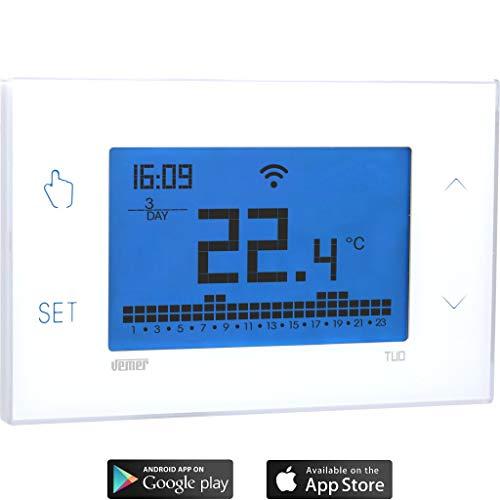 Vemer VE785700 Tuo Wi-Fi Lite weekthermostaat, wi-fi wekelijks wandthermostaat met smartphone met app iOS en Android.