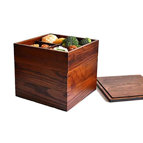 Fiambrera Natural de Doble Capa Contenedores de Comida Apilables Tradicionales Japoneses Bento Box Portátil para Picnic Sushi Lunch Box