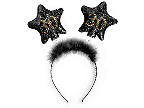 PartyDeco Stirnband mit Sternen und gedruckten Zahlen 30 Schwarz mit Fell Haarband für 30. Geburtstag Runde Geburtstag Gadgets Geburtstagsgeschenk Haarschmuck