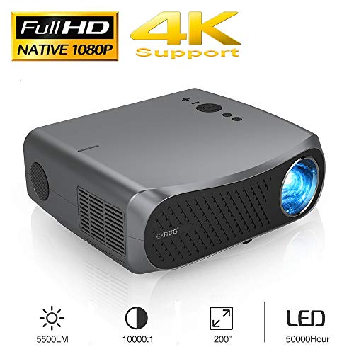 Full HD Projector, EUG 5500 Lumen LCD Native 1080P Movie Projectors 1920 x 1080 HDMI/VGA/USB/Audio LED Digital Video Projector for Gaming TV Stick Laptop DVD Home Entertainment Office PPT