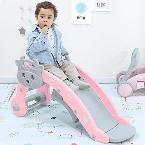 Baby 2 in 1 Rocking Horse Slide Set Toddler Climbing and Animal Rocker with Rocking Hors Suit for Indoor and Backyard Baskets for Boys and Girls … (Pink)