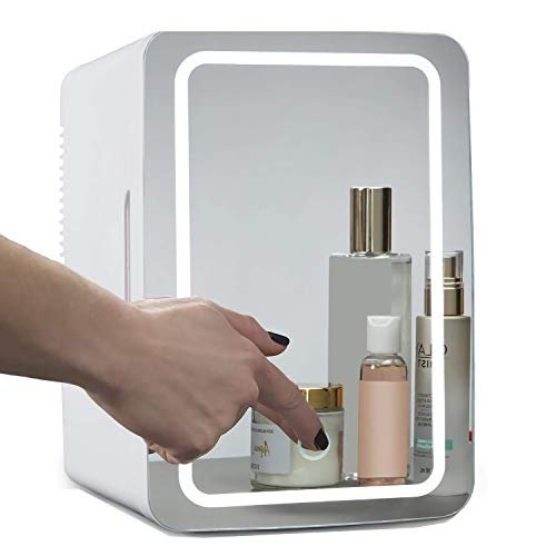 LUKKC Mini nevera portátil 2 en 1 con espejo de maquillaje, con luz LED, para el cuidado de la piel y cosméticos para el dormitorio, la oficina, el dormitorio, el coche