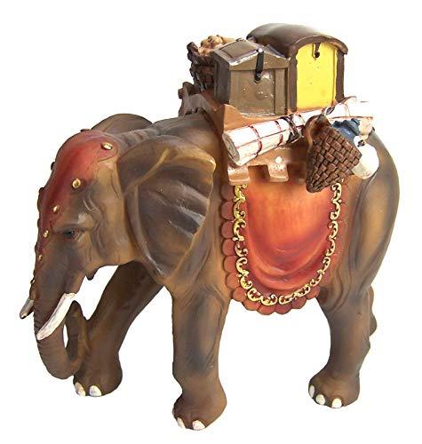 Elefant mit Gepäck aus Polyresin, handbemalte Krippenfigur, 15 cm hoch