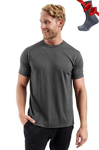 Merino.tech Merino Wool T-Shirt Mens - 100% Organic Merino Wool Undershirt Lightweight Base Layer + Hiking Wool Socks (Medium, Grey)