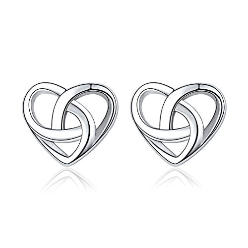 ChicSilver Love Knot Heart Stud Earrings hypoallergenic 925 Sterling Silver Fashion Mini Celtic Triquetra Knot Earring Studs Celtic Jewelry for Women Girls Birthday Valentines Day Gift