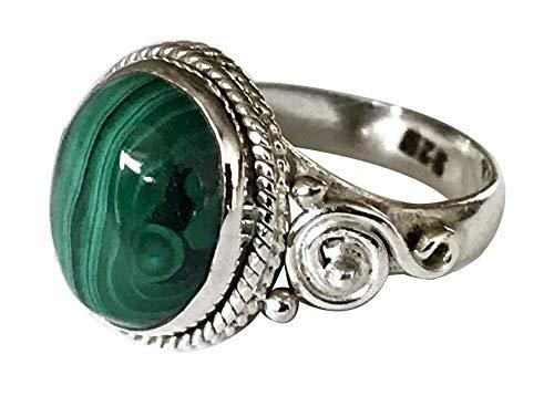 Shanya Ring im Folkore-Stil mit grünem Malachit, Sterlingsilber 925