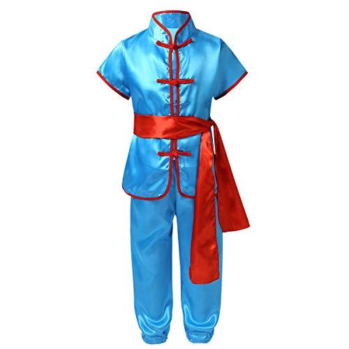 inhzoy Unisex Uniforme Kung Fu per Bambini Abito da Judo Arti Marziali Abbigliamento Tradizionale Tai Chi Wushu Danza Wing Chun Completi Abbigliamento Costume di Cosplay Blu 8-10 Anni