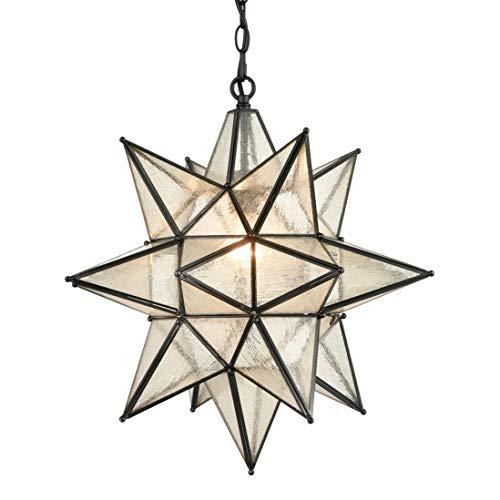 EUL 20 Inch Modern Moravian Star Pendant Lighting Seeded Glass Light on Chain