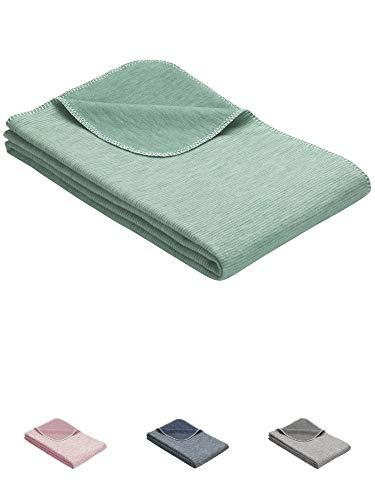 Flauschige Baby Baumwolldecke Ideal als Baby Decke, Einschlagdecke oder Kuscheldecke - Mint (für Junge, Mädchen)