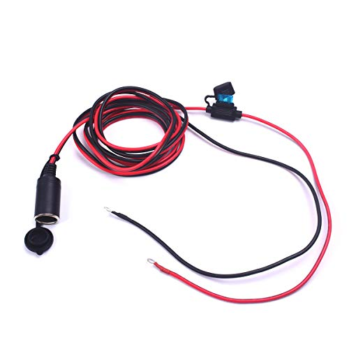 Auto motorfiets boot sigarettenaansteker oplader bus 3.2FT verlenging ruwe koperen kabel directe draadadapter sigaar Power Port vervanging stekker 12 V 5 A 60 Watt (Car Auto Cigarette Lighter 12V met Fuse - 16 AWG 15 A 10 FT)