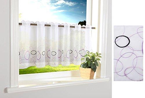 Aura Scheibengardine Durchzuglöcher für Gardinenstangen Scheibe Gardine Küche Lila HxB 40x120 cm, 112240