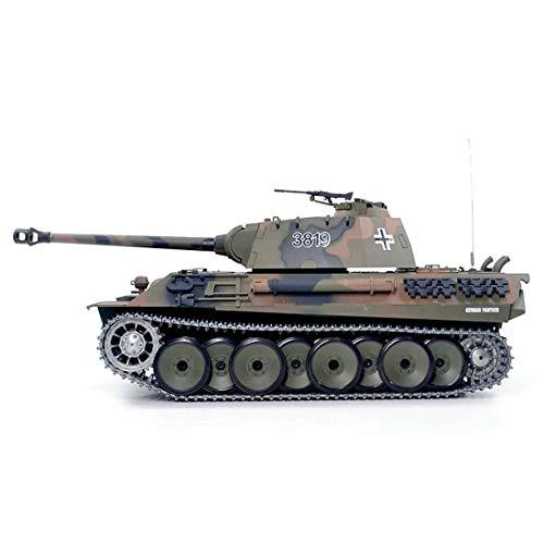 Leic553ht RC Panzer 1:16 Fernbedienung Militär Kampfpanzer Spielzeug Deutscher Leopard Schwerer Panzer ,Schwerer Panzermit Geräuschen Rauch Aufnahme Effekt für 8+ Jahre alt
