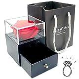 3world アクセサリー プレゼント ラッピング ボックス バラを添えて グレードアップ バッグ 付 SW1460黒+ソープフラワー(リング用)