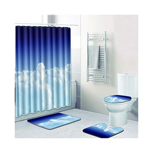 AMDXD Set Polyester 4 Pcs Duschvorhang Toilettenmatte Teppich Weiß Wolke Design Bad Vorhang Teppiche Set Stil 02 180x180CM