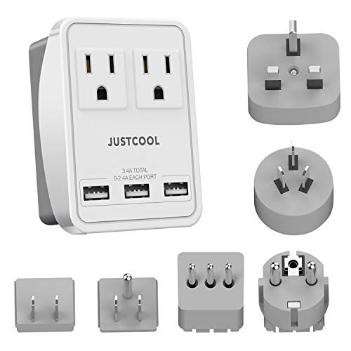 World Travel Adapter Kit, Justcool Universal Power Plug Adapter With 3-USB Ports + 2-Outlets For US, Italy, France, Germany, China, Japan, UK, Spain, Europe, Asia (Type A B G L E/F I)
