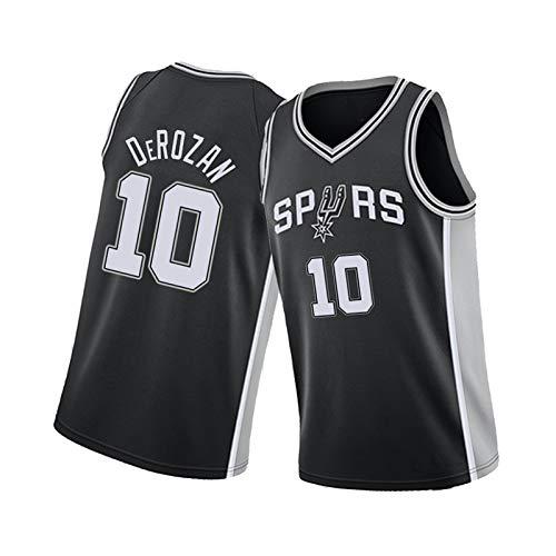Spurs 10# Jersey de Baloncesto de DeRozan, Chaleco sin Mangas Jersey Deportes Sueltos Desgaste Casual, Transpirable y cómodo Black-XL