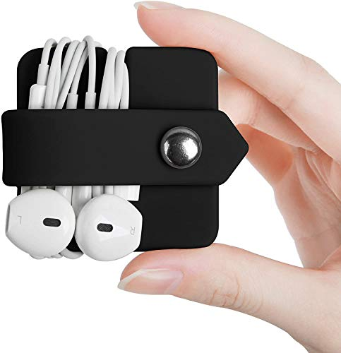 Amial Europe - Organizador Envuelva Auriculares con Cables Compatible con EarPods [Silicona Extra Calidad] [Evite Enredos de Hilos] (Negro)