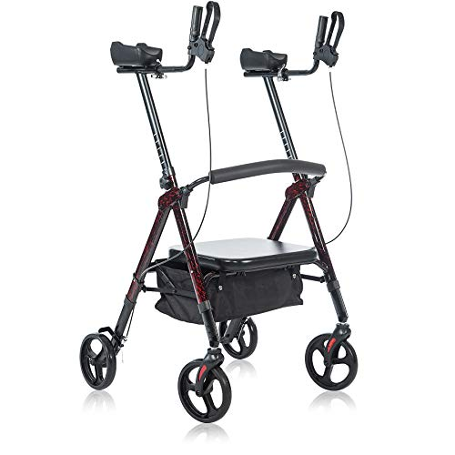 BEYOUR WALKER Heavy Duty Upright Walker with Oversize Padded Seat & Backrest, Support Up to 500lbs, Flame Red