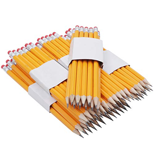 Bleistifte mit Radierspitze (144 Stk) - 2HB Härtegrad Holz Vorgespitzt Bleistifte (19x0.8cm) - Bleistift Set mit Latexfreie Radiergummi Perfekt für Kinder, Künstler, Schule, Zeichnen, Skizzieren