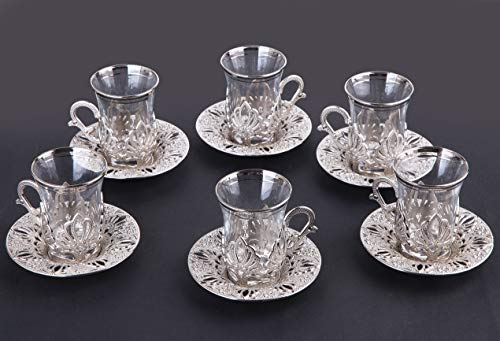 LaModaHome Turkish Arabic Tea Glasses Set of 6 with Holders and Saucers - Fancy Vintage Silver Handmade Set, Glass Cup, Gift, Teatime