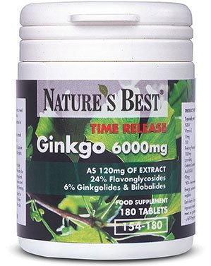 Ginkgo Biloba 6000mg- one-a-day, longer acting time release formula, UK-made-180 Tablets by Nature's Best