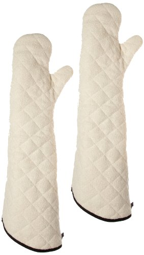 San Jamar 824TM Heavy Duty Terry Cloth Temperature Protection Oven Mitt, 24