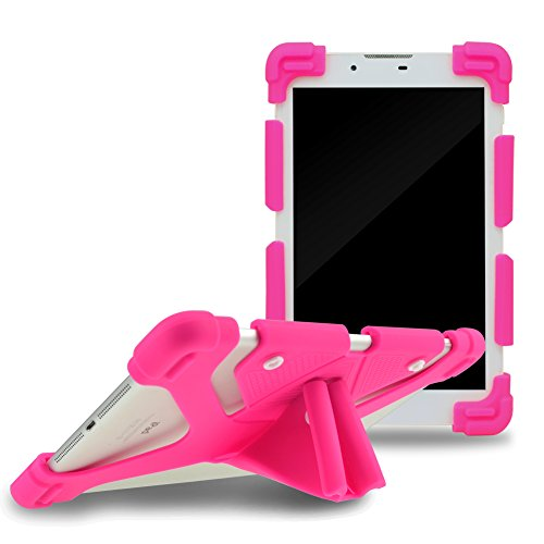 Sinbad Universal 8.9-12' Shockproof Silicone Cover Case Stand for iPad Air,iPad Mini,Kindle,Q8,Samsung Galaxy Tab,Verizon Asus RCA Google Dragon Touch &Other 8.9-12inch Tablets (8.9-12', Hot Pink)