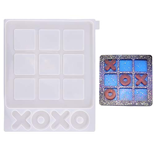 SAVITA 1 Pezzo 25×22cm Tic Tac Toe Mold Stampo per Colata in Resina Epossidica Siliconica per Artigianato Fai-da-Te Gioco da Tavolo per Bambini per Adulti Giochi da Tavolo per Famiglie