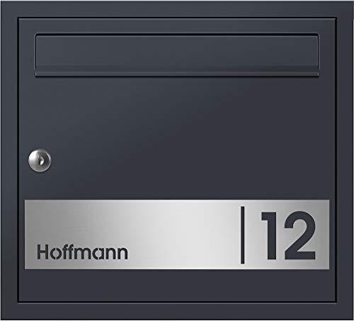Frabox® Design Unterputz - Briefkasten Oleva Anthrazitgrau RAL 7016 mit Hausnummer & Namen