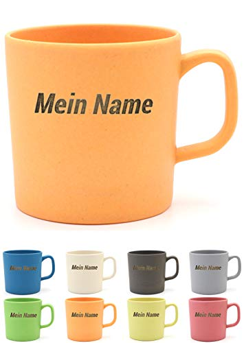 Magu Kaffeebecher mit Henkel mit Namen personalisierte Bambus Namens-Tasse - Individuelle Namensgravur 463 - naturorange